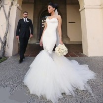 Elegant Korean Tulle Wedding Dress 2017 White Fishtail Bride Gowns