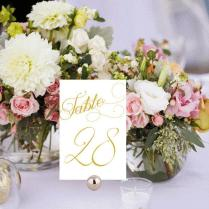 Elegant Table Numbers Printable, Wedding Table Numbers, White And
