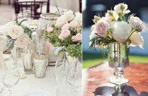 Elegant Wedding Reception Decor Centerpiece Vases Mercury Glass 1o