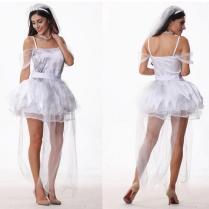 Girls New Halloween Costume Beautiful Wedding Dress White Tulle