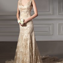 Gold Lace Wedding Dress