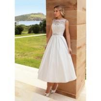Lace And Taffeta Vintage Tea Length And Boat Neckline Wedding