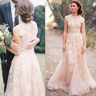 Lace Blush Wedding Dress