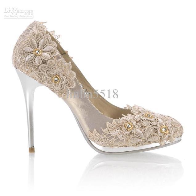 Lace Flowers Diamond 10cm Heels Waterproof Prom Evening Party