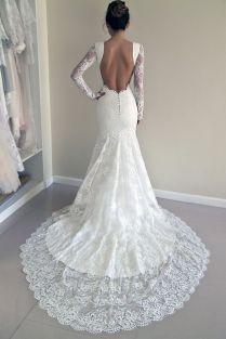 Lace Wedding Dress, Custom Made Wedding Dress, Trumpet Silhouette