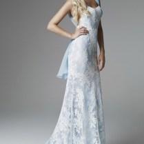 Light Blue Lace Wedding Dress