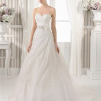 Line Strapless Sweetheart Draped Organza Wedding Dress Beading