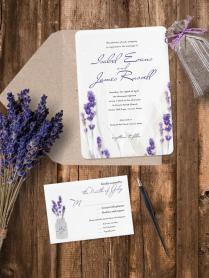 Luxury Pearl Shimmer Lavender Wedding Invitation