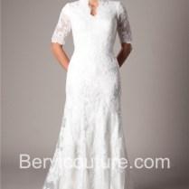 Mermaid Scalloped Neckline High Back Lace Wedding Dress Short Sleeves