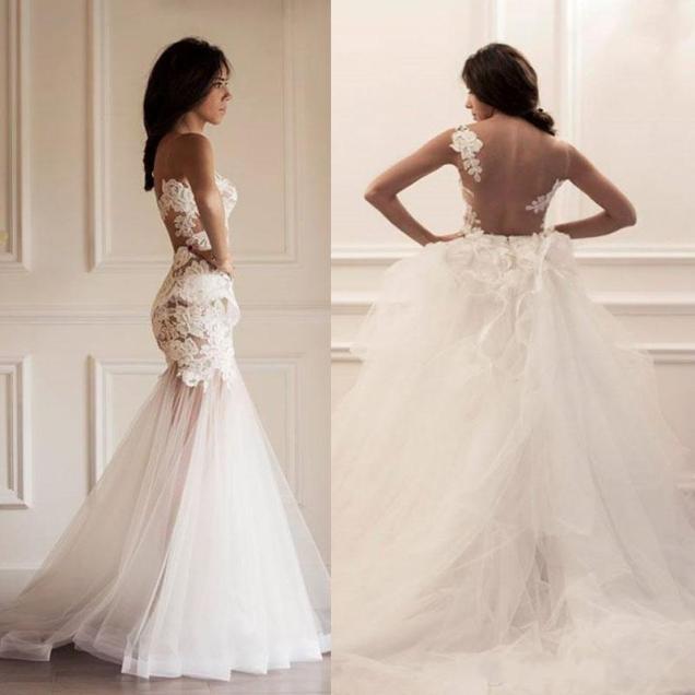 Mermaid Wedding Dresses Sheer Bodice Bateau Neckline Appliques