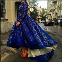 Modest Lace Royal Blue High Low Prom Dresses With Long Sleeves