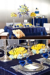 Navy Blue And Yellow Wedding Decorations