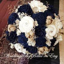 Navy Blue Sola Bouquet, Blue Champagne Ivory Bouquet, Wedding