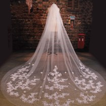 New Arrive Bride Veil Long Length Elegant Lace Beaded Long Wedding