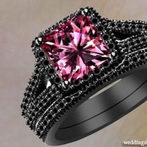 New Black And Pink Wedding Rings