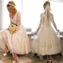 Online Get Cheap White Vintage Lace Tea Length Wedding Dress