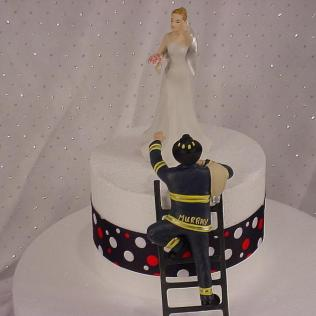 Personalized Custom Fireman Groom With Victorious Bride