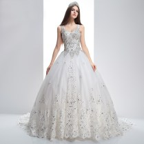 Princess Long Luxury Wedding Dresses Sequined Beaded Top White