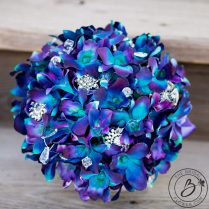 Purple Blue Galaxy Orchid Wedding Bouquet – Real Touch Wedding