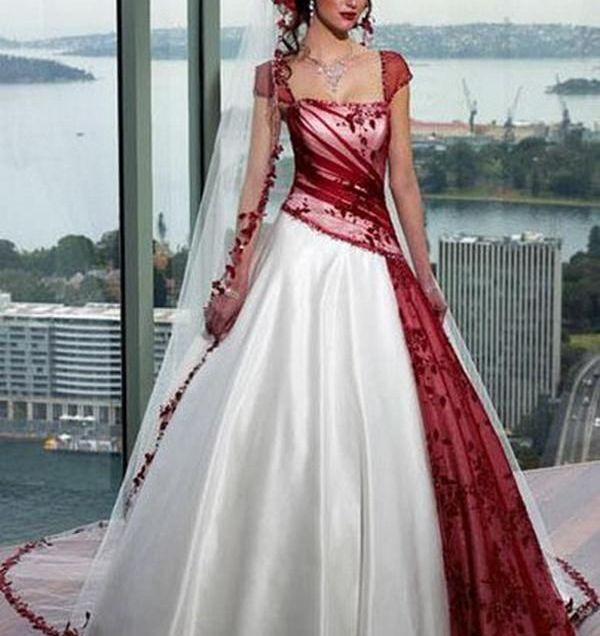 Beautiful Red And White Wedding Dress