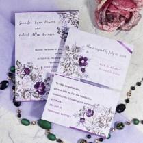 Romantic Purple Floral Printable Wedding Invitation Cards Cheap