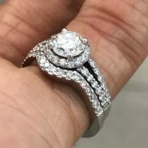 Round Halo Engagement Ring Split Shank Matching Band