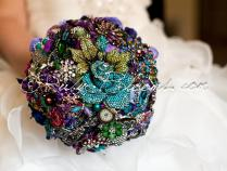 Royal Purple Wedding Brooch Bouquet Deposit Alice In Wonderland