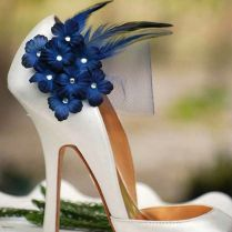 Shoe Clips Navy Midnight Blue Flowers Bridesmaid Bride Dark