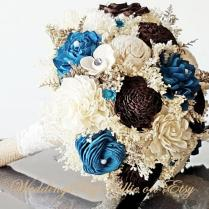 Sola Bouquets, Brown And Teal Bouquet, Chocolate Turquoise Bouquet