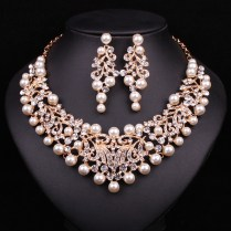 Statement Necklace Earrings Bridal Jewelry Sets