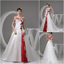 Stunning White With Red Wedding Dresses Pictures