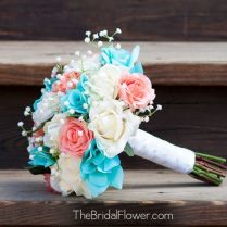 Turquoise And Coral Wedding Bouquets Coral And Turquoise Wedding