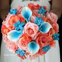 Turquoise And Coral Wedding Bouquets Coral Beach Wedding Flower