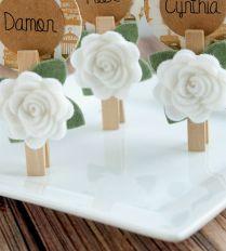 Wedding Card Design Artificial White Rose Flower Wooden