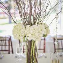 Wedding Centerpiece Cylinder Vase With White Hydrangea, Twigs And