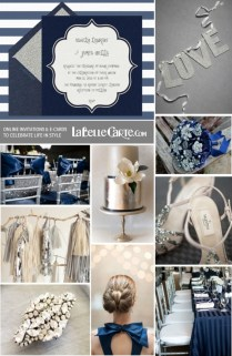 Wedding Silver Navy Blue Online Invitations Ideas Decoration