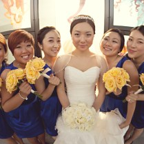 White & Yellow Rose Bouquets Real Wedding