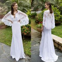 White Lace Beach Wedding Dresses Batwing Sleeves Deep V Neck