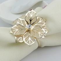 Wholesale Gold Metal Flower Napkin Rings For Hotel Wedding Banquet