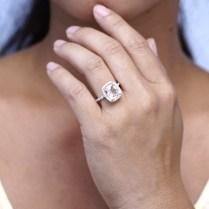 10x8 Green Quartz Prasiolite Drenched Diamond Halo Engagement Ring