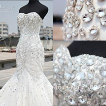 2017 Luxury Crystal Wedding Dress Real Photo Mermaid Vintage