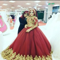 2017 Red Ball Gown Wedding Dress Muslim Bridal Gowns Long Sleeve