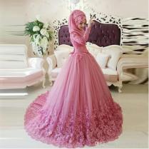 Arabic Muslim Wedding Dress 2016 Turkish Gelinlik Lace Applique