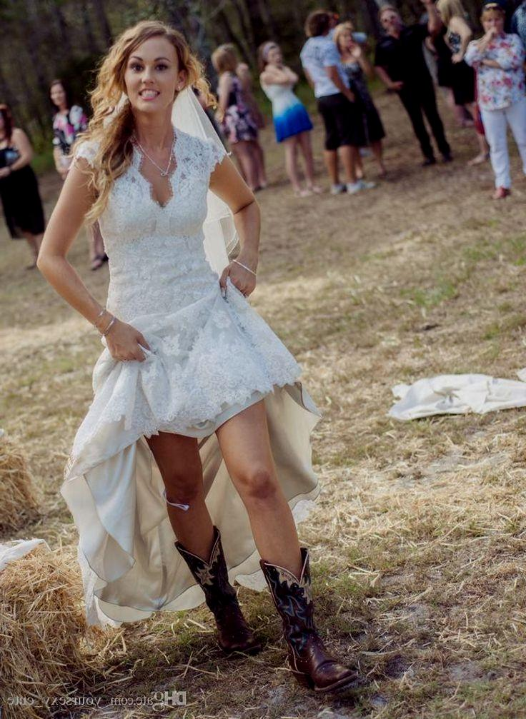775dbbafd3 High Low Wedding Dress With Cowgirl Boots