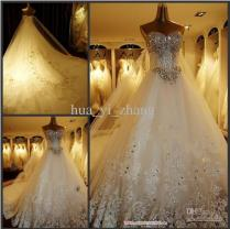 Discount 2016 Luxurious Crystal Wedding Dresses A Line Sweetheart