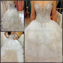 Discount Custom Made Luxury Beaded Swarovski Crystals Wedding