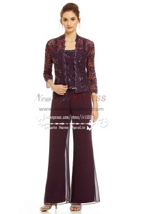 Elegant Mother Of The Bride Pant Suits Dress Lace Outfit For