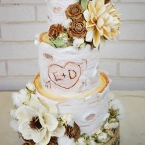 Rustic Birch Wood Log Wedding Cake With Dried Flowers