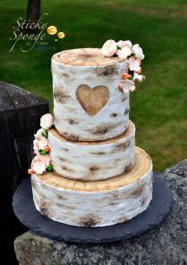 Rustic Silver Birch Wedding Cake