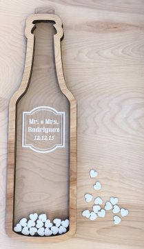 Wine Bottle Wedding Guest Book Alternative With Hearts, Drop Top